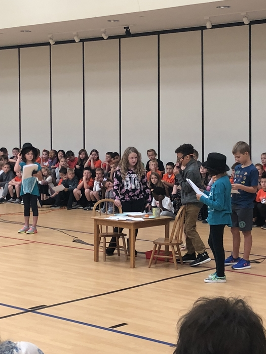 Third grade students performing Reader's Theater at our Grandparents Day assembly